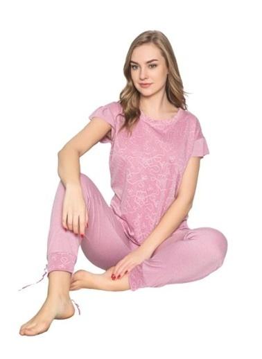 Elif İç Giyim Kadın Pembe Jakarlı Kolu Fırfırlı Pembe Pijama Takımı Pembe